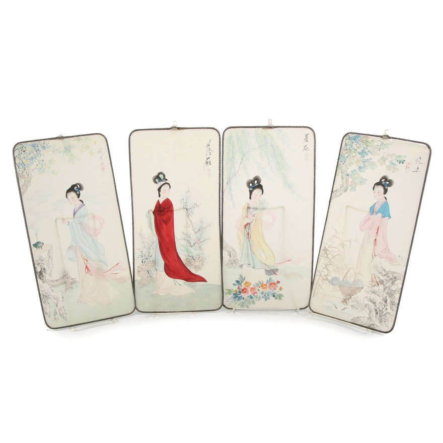 Chinese Watercolor Paintings of Women, Mid-20th Century