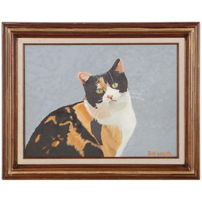 Bill Werth Oil Painting of a Calico Cat, Mid to Late 20th Century