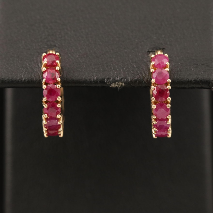14K Ruby Hoop Earrings