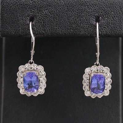 10K Tanzanite and Diamond Earrings
