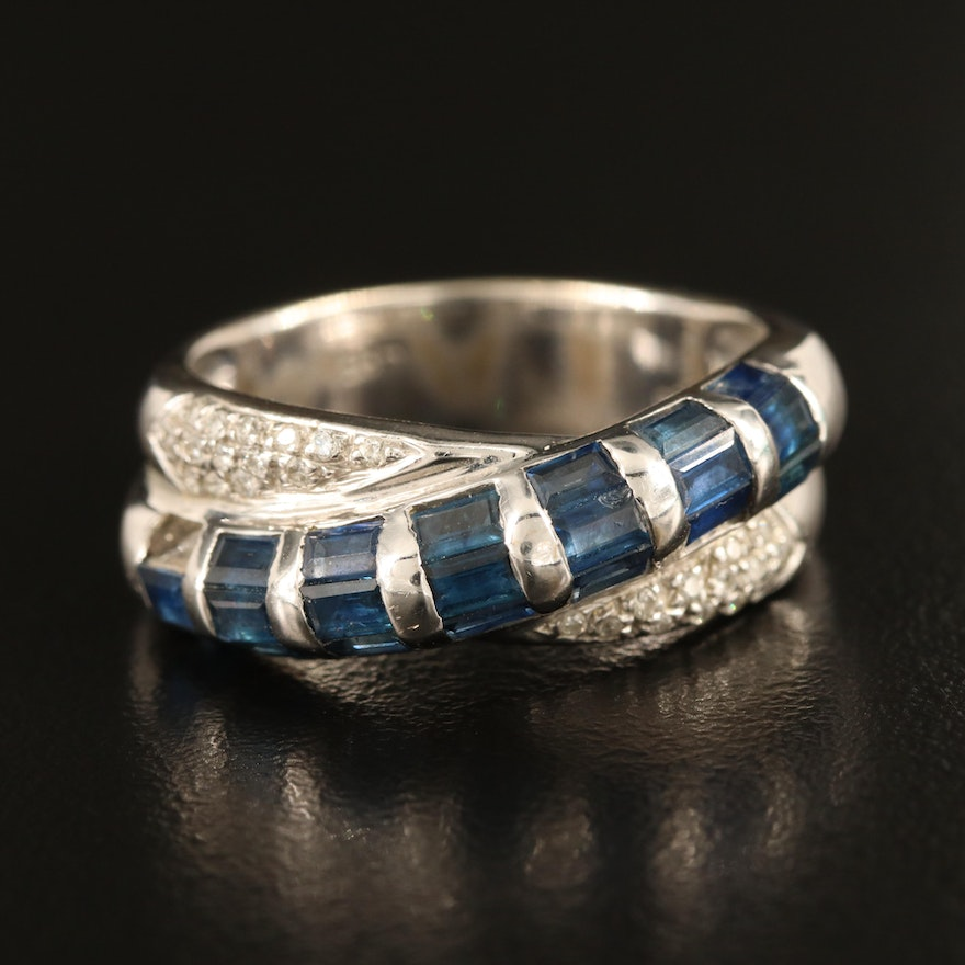 14K Sapphire and Diamond Crossover Ring