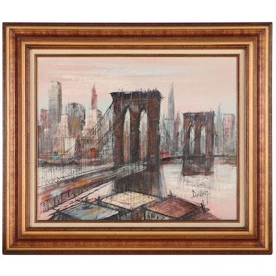 Duchamp Cityscape Oil Painting of Brooklyn Bridge, Late 20th Century