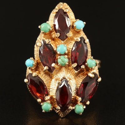14K Garnet and Turquoise Ring