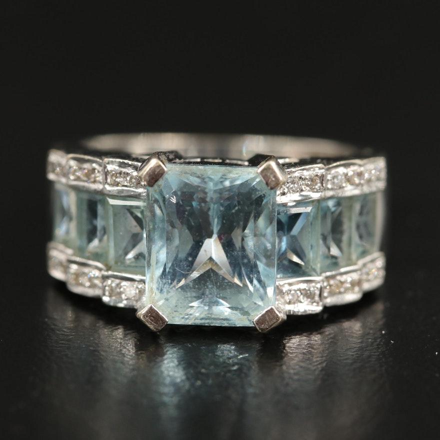 14K Aquamarine and Diamond Step Ring