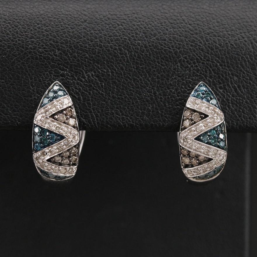 10K 0.70 CTW Diamond Huggie Earrings