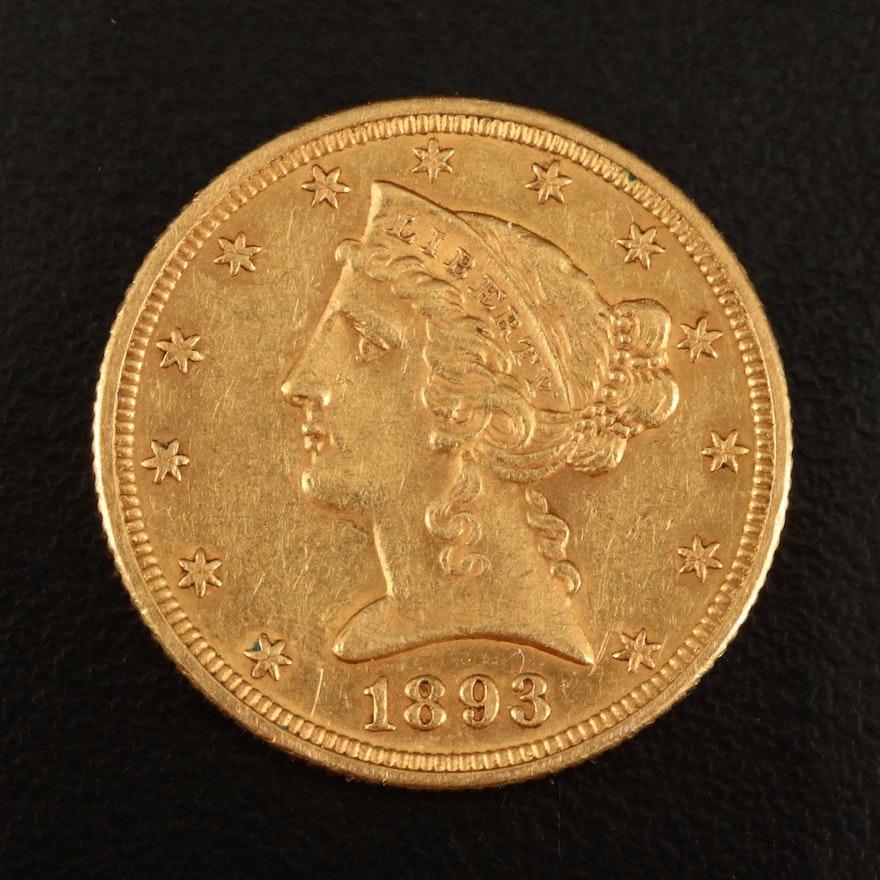 1893 Liberty Head $5 Gold Coin