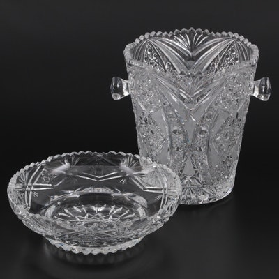 Cut Glass Handled Champagne Ice Bucket with Serving Bowl