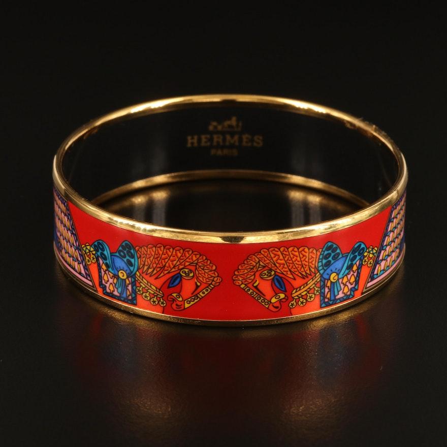 """Hermès """"Art des Steppes"""" Wide Enamel Bangle"""