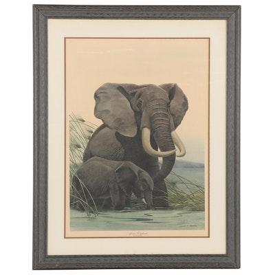 "John A. Ruthven Offset Lithograph ""African Elephants,"" Late 20th Century"