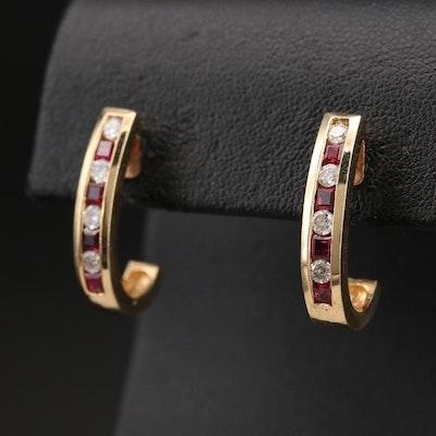 14K Diamond and Ruby J Hoop Earrings
