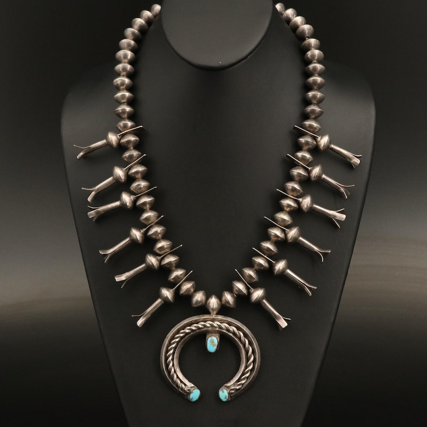 Southwestern Sterling Squash Blossom with Turquoise Naja Pendant