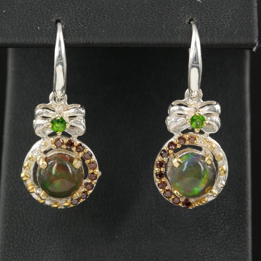 Sterling Opal, Garnet and Diopside Drop Earrings