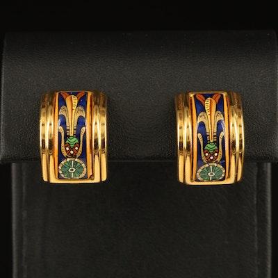"""Hermès """"Torana"""" Enamel Clip J Hoop Earrings"""