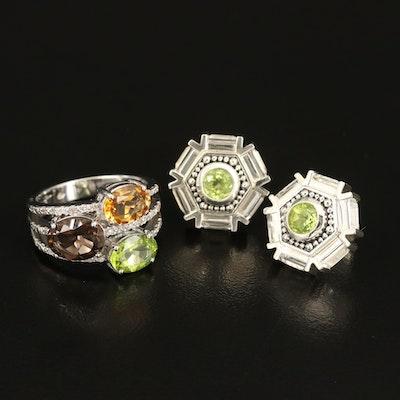 Sterling Smoky Quartz, Diamond, Peridot, and Gemstone Ring and Earrings