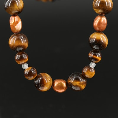 Tiger's Eye, Pearl and White Topaz Necklace with Sterling Clasp