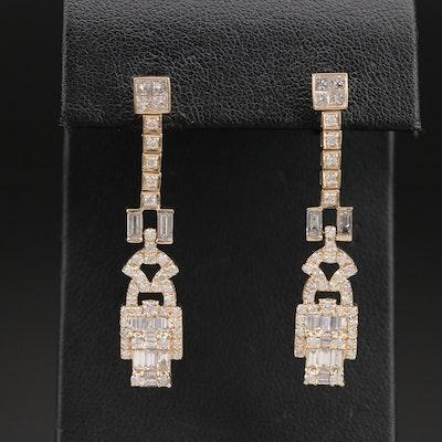 14K 2.56 CTW Diamond Drop Earrings