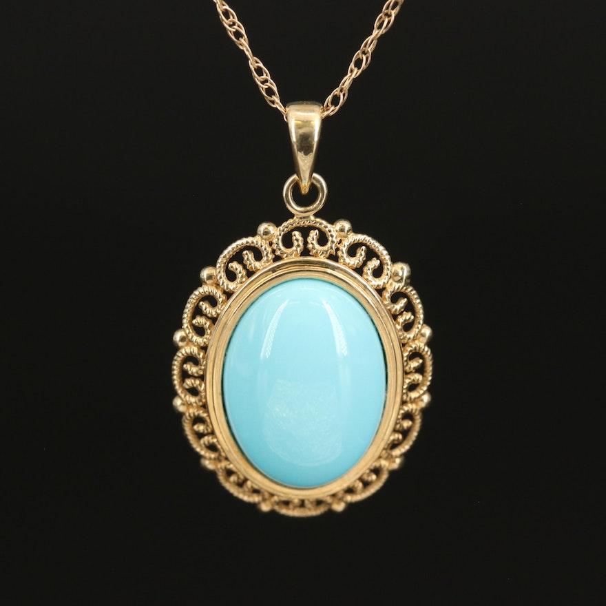 14K Imitation Turquoise Pendant Necklace