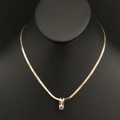 14K Tanzanite and Diamond Slide Pendant with Herringbone Chain Necklace