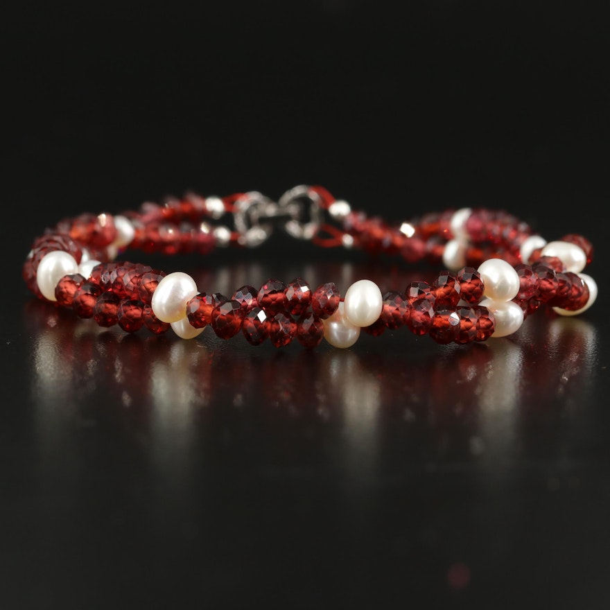 Pearl and Garnet Twisted Double Strand Bracelet with Sterling Clasp