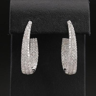 14K 3.77 CTW Diamond Inside-Out J Hoop Earrings