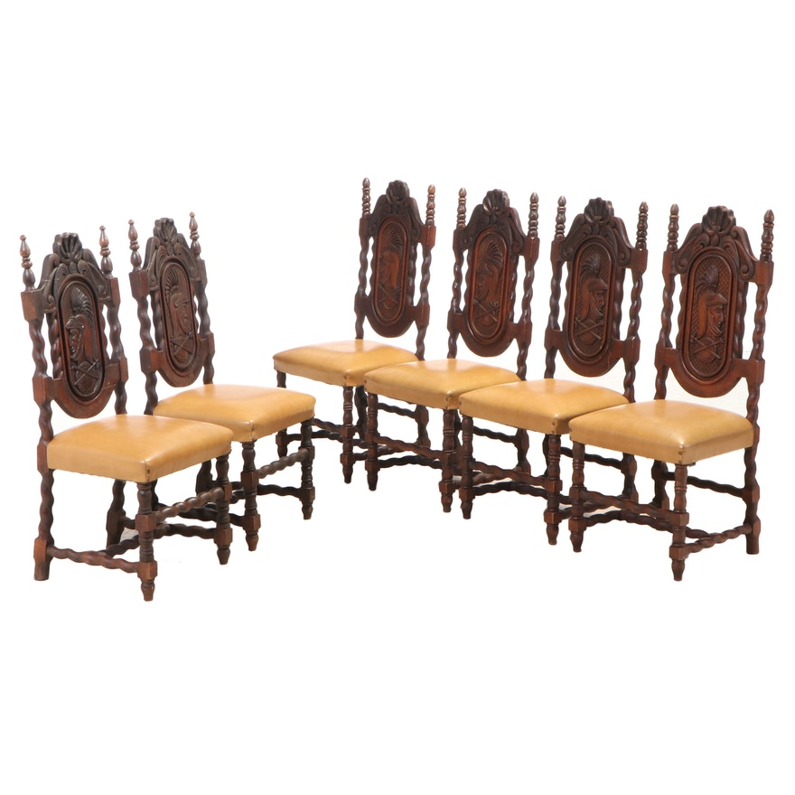 Six Renaissance Style Carved Pine Dining Chairs, Mid 20th Century