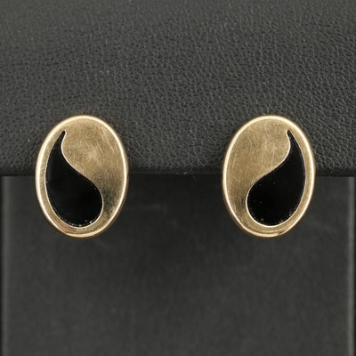 14K Black Onyx Oval Earrings