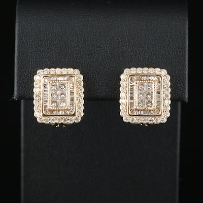 14K 2.48 CTW Diamond Button Earrings with Scalloped Edges