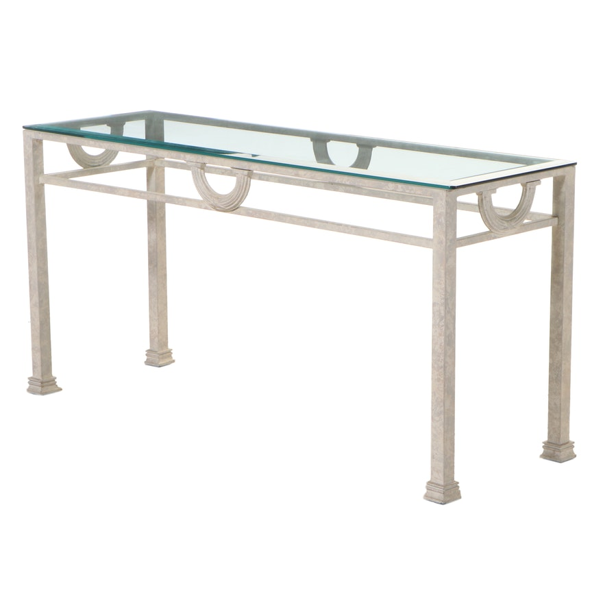 Neoclassical Style Patinated Metal and Glass Top Console Table