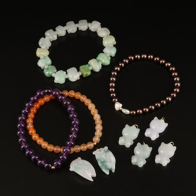 Quartz, Amethyst, Jadeite and Pearl Jewelry Including 14K, 18K, and Sterling