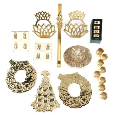 Virginia Metalcrafters Pineapple and Wreath Trivets and Other Brass Tableware