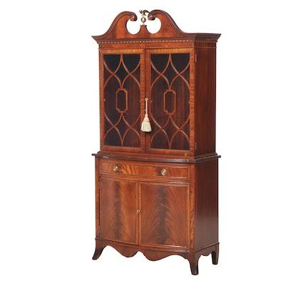 Big Rapids Hepplewhite Style Mahogany Bookcase Cabinet, Mid 20th Century