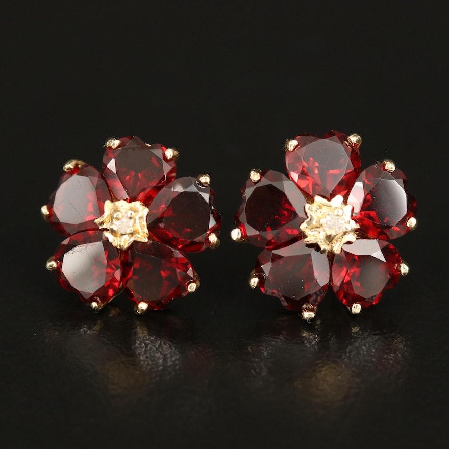 14K Garnet and Diamond Flower Earrings