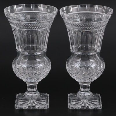 Pair of Bombay Neoclassical Style Crystal Footed Urn Vases
