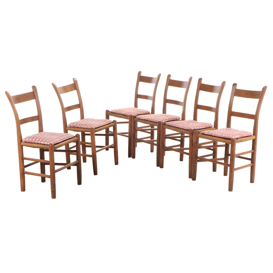 Six American Primitive Wood Dining Chairs with Paper Cord Seats