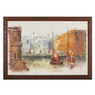 European Style Cityscape Oil Painting, Circa 2000