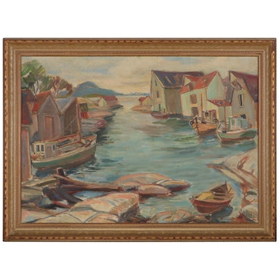 Oil Painting of a Harbor Scene, Mid-20th Century
