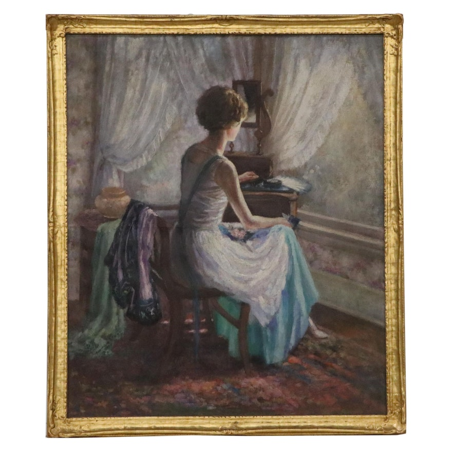 Genre Oil Painting of Woman Seated, Early 20th Century