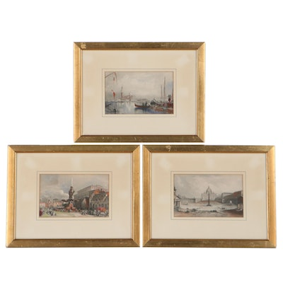 Hand-Colored Engravings of Italian Street Views, Mid-19th Century