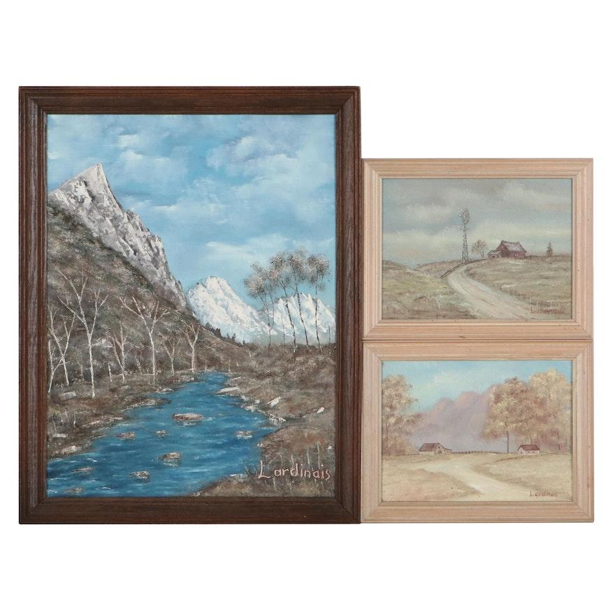 Jack Lardinais Landscape Oil Paintings, Circa 1985