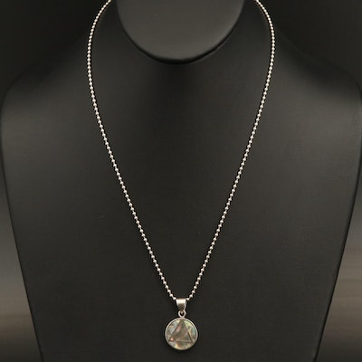 Sterling Abalone Triangular Inlay Pendant Necklace
