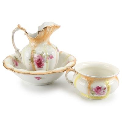 Wood & Son Rose Motif Semi-Porcelain Pitcher, Basin, and Chamber Pot