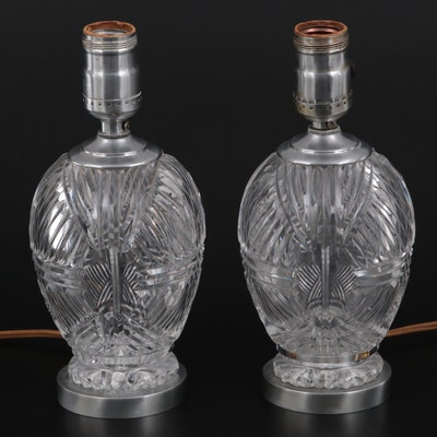 Pair of Cut Crystal Table Lamps, Mid-20th Century