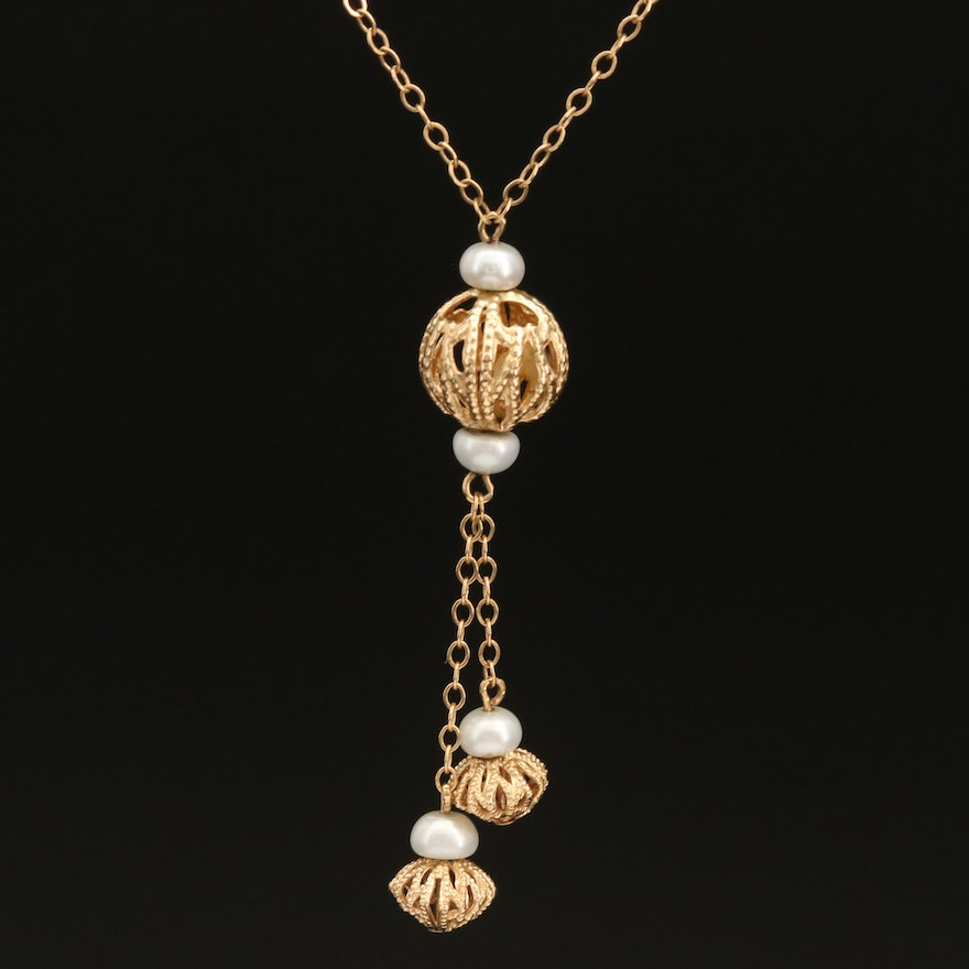 14K Pearl and Filigree Bead Necklace