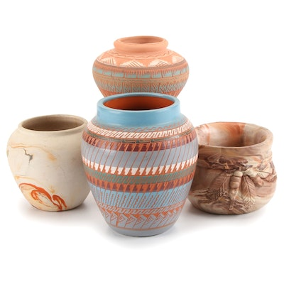 Artist Signed Navajo Sgraffito Pottery and Other Southwest Style Vessels