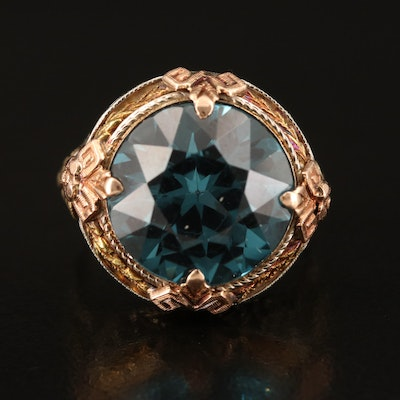 14K Spinel Ring with Rose and Green Gold Accents