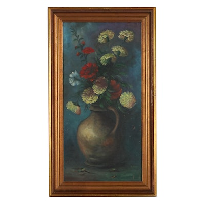 Terpstra Still Life Oil Painting of Flowers, Late 20th Century