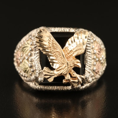 Sterling Silver Black Onyx American Eagle Ring