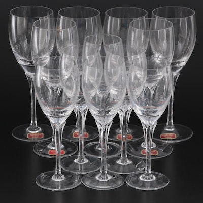 """Gorham Crystal """"Jolie"""" Etched Water Goblets and Wine Glasses, Late 20th Century"""