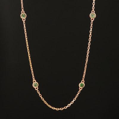 18K Rose Gold Bezel Set Tsavorite Station Necklace