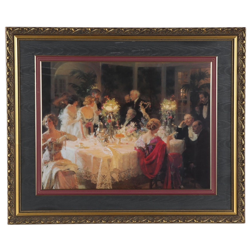 "Offset Lithograph After Jules-Alexandre Grün ""The Dinner Party,"" 21st Century"